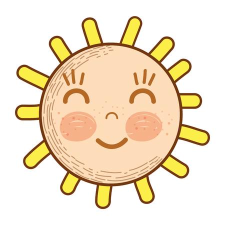 Illustration of kawaii happy sun with close eyes and cheeks Illustration