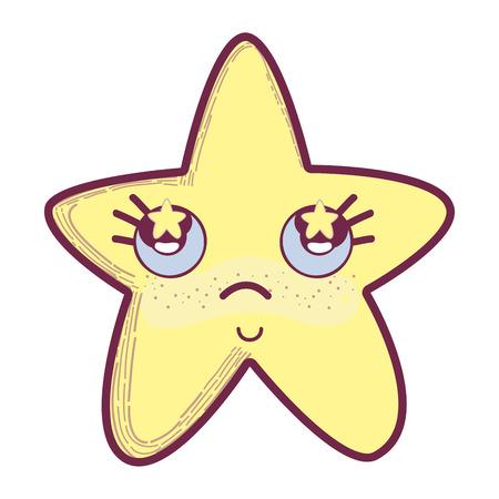 Illustration of kawaii star thinking with cheeks and stars inside eyes Illustration