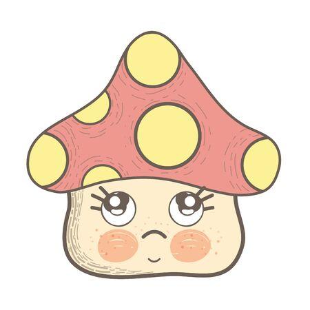 Illustration of kawaii fungus sad with cute cheeks and eyes Illustration