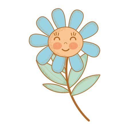 Illustration de kawaii plante fleur heureuse joues et yeux proches