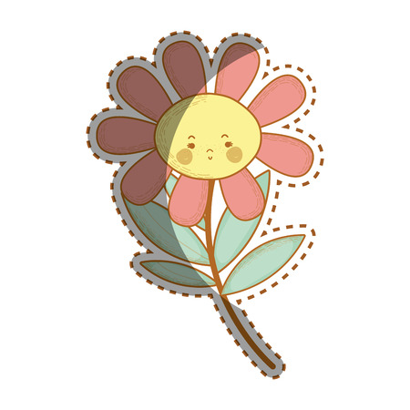 Illustration of kawaii sad flower plant with cheeks and mouth Illustration