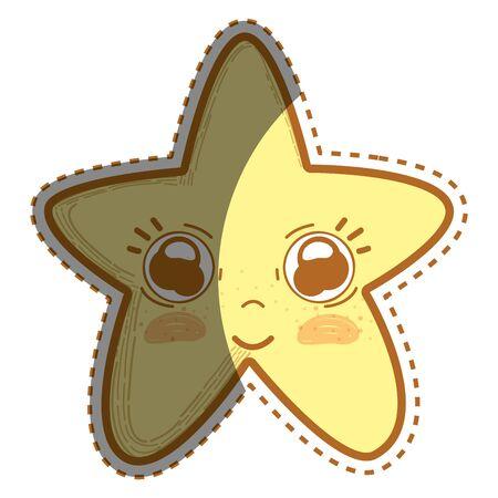 Illustration of kawaii cute star with big eyes and cheeks