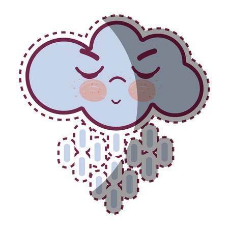 Illustration of kawaii raining cloud angry with close eyes and cheeks