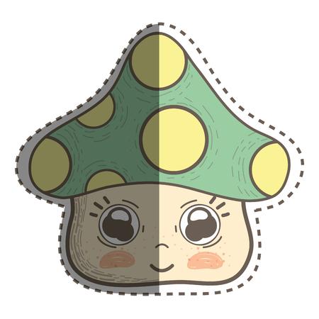 kawaii fangus with cute eyes and cheeks