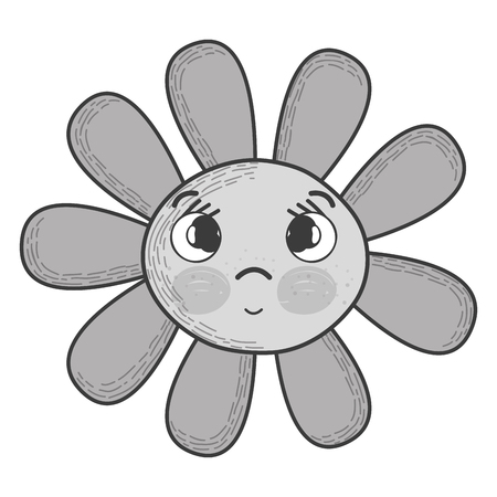 Illustration of gray scale kawaii flower surprised face and eyes Illustration