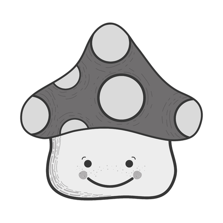 Illustration of gray scale kawaii happy fangus with eyes and mouth Illustration