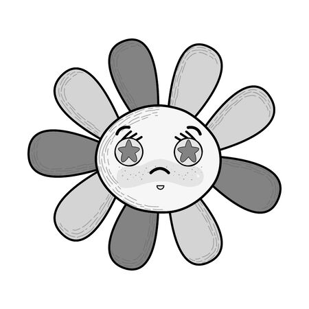 Illustration of gray scale kawaii angry flower with stars inside eyes
