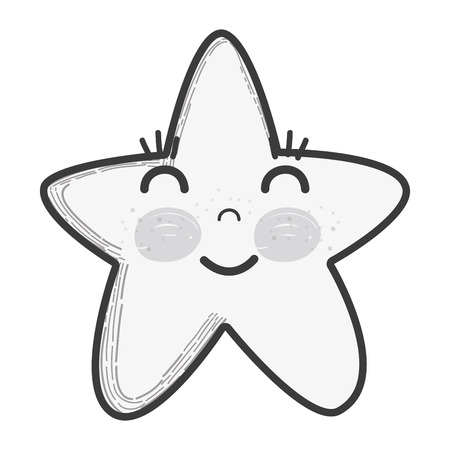 Illustration of white kawaii happy star with close eyes and cheeks Illustration
