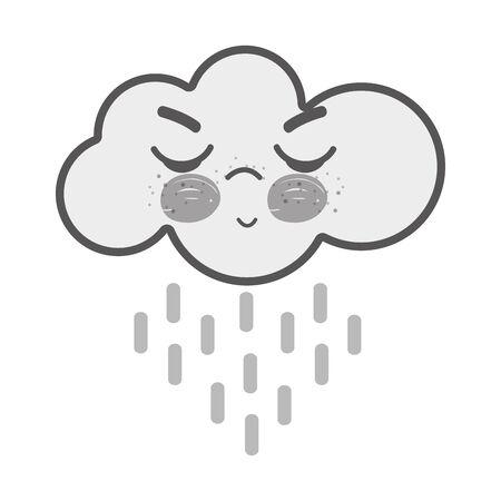 white kawaii raining cloud angry with close eyes and cheeks