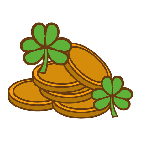 clovers: Metal coins with clovers plant