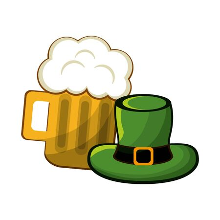 Beer glass with froth and st patrick hat Illustration