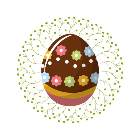Cute easter egg with branches decoration