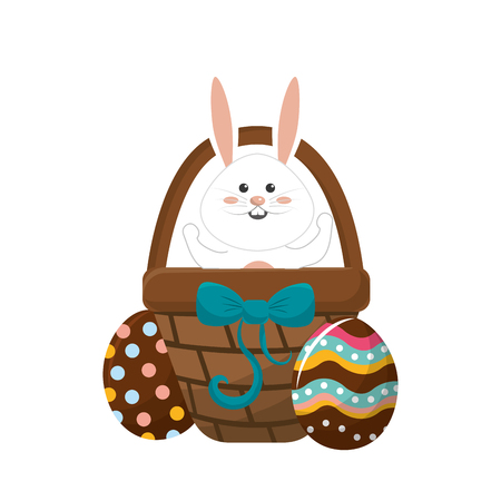 Rabbit easter inside of hamper and eggs outside