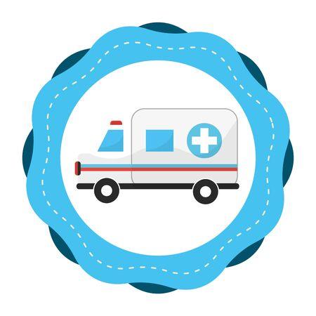 Sticker ambulance emergency care life Illustration