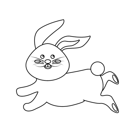 running nose: Figure cute white rabbit animal running