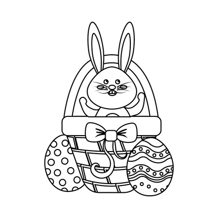 Figure rabbit easter inside of hamper and eggs outside