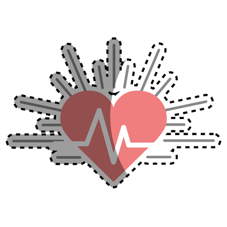 systole: Red heartbeat cardio vital sign