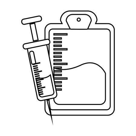 Figure blood donation bag with syringe transfusion