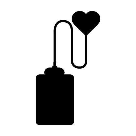 Black contour blood donation medical transfusion Иллюстрация