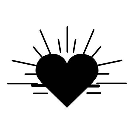 systole: Black contour heartbeat cardio vital sign Illustration
