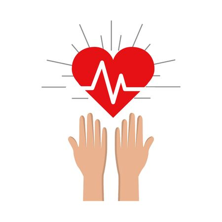 Hands with heartbeat vital sign up Illustration