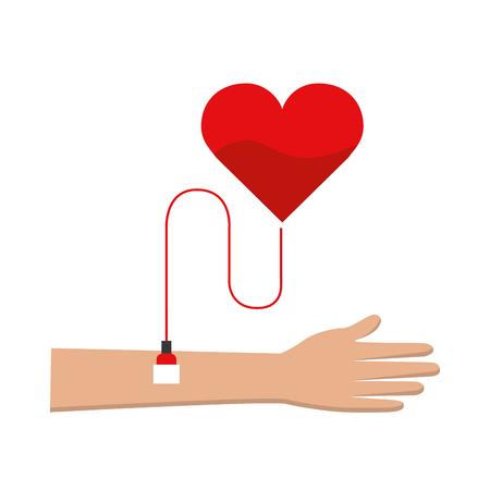 Hand donating blood to help people Иллюстрация