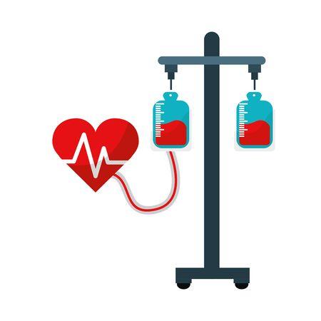 Donation transfusion tools with heartbeat symbol Иллюстрация
