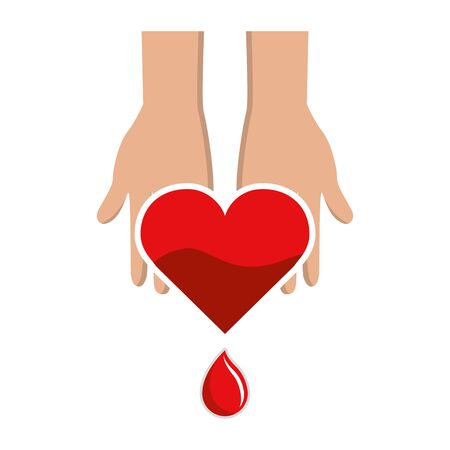 emergent: Hands with blood heart drop, donation symbol Illustration