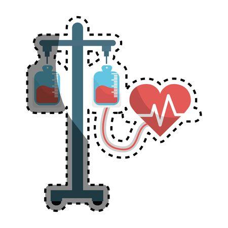 Donation transfusion tools with heartbeat symbol Illustration