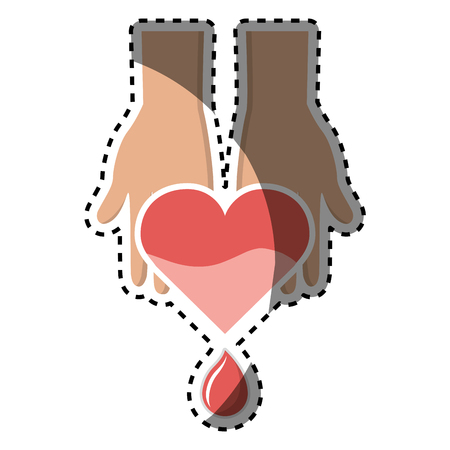 Hands with blood heart drop, donation symbol Illustration