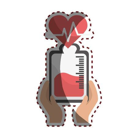emergent: Bag donation blood and heartbeat in the hands Illustration