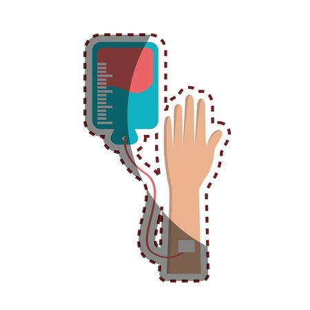 Hand donating blood to help people Illustration
