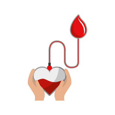 Bag donation blood in the hands and blood drop Иллюстрация