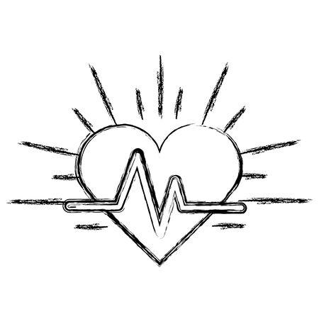 systole: Silhouette heartbeat cardio vital sign