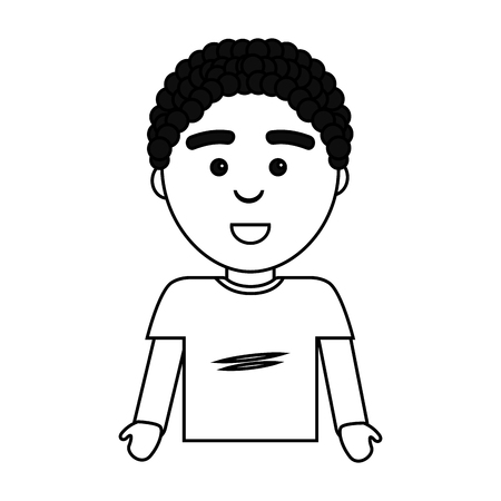 Figure happy man with facial expression and casual cloth Illustration