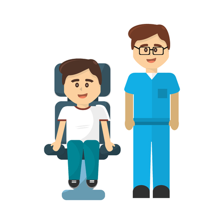 Man donation volunteer with the doctor Illustration