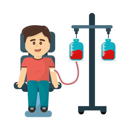 Man donating blood to transfusion icon