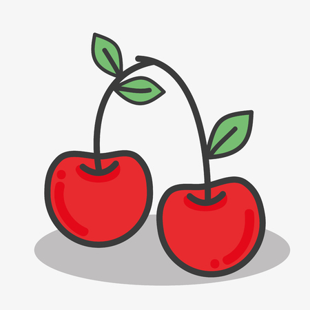 Delicious cherry tasty fruit icon Stock Vector - 77191381