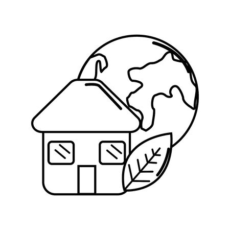 Figure house with leaf and earth planet