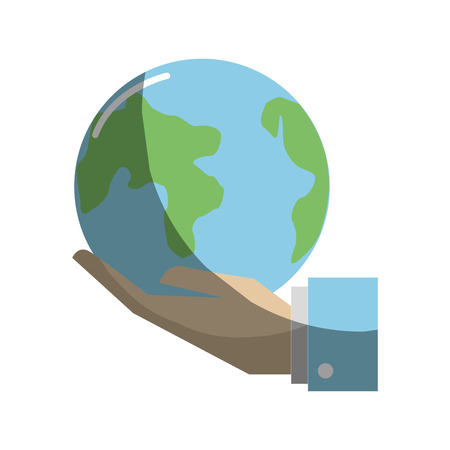 land development: Earth planet in the hand icon Illustration