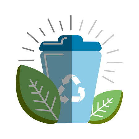 Can of recycling with leaves icon