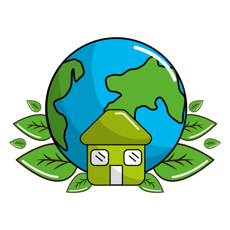 Earth planet with leaves and house icon