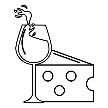 Wine glass splashing wine with cheese icon