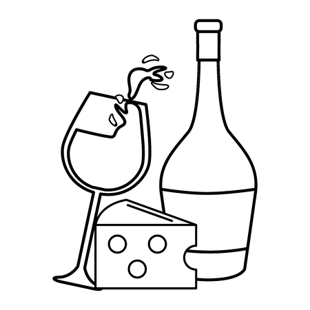 Wine glass splashing wine and bottle and cheese icon Illustration