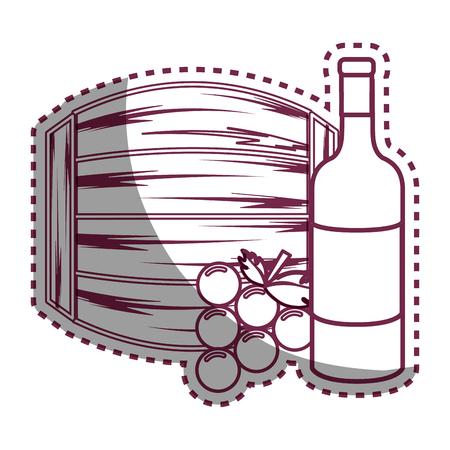 stiker: Sticker line bottle wine, barrel and grape