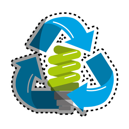 Sticker green save bulb with recycling symbol Vectores