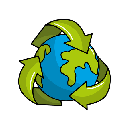 Earth planet inside of recycling symbol