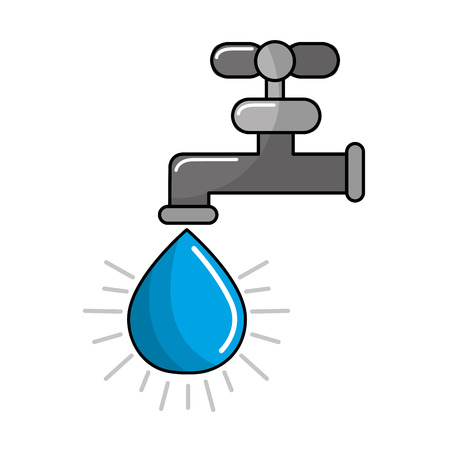Faucet with drop of water icon Illustration