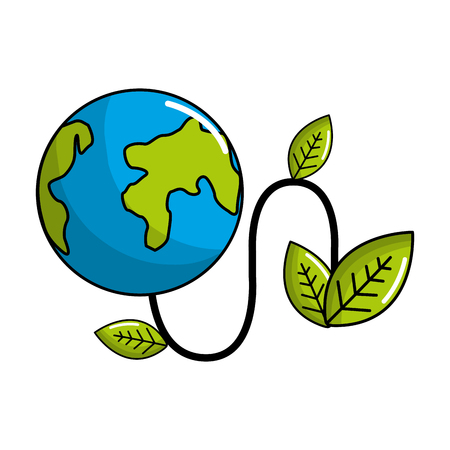 Planet with power cable and leaves Illustration