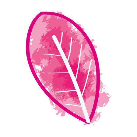 Pink watercolor leaf paint art